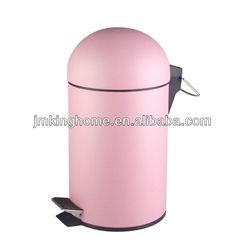 rubber pink metal foot pedal refuse bin for bathroom
