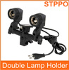 STPPO Twin Lamp Bulb Holder E27 Double Lamp Socket with Switch
