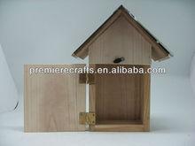 2015 waterproof bird house/metal roof wooden bird house with back door to clean