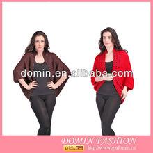 Lady Fashion Cardigan Acrylic Beading Cardigan Bat Sleeve Design