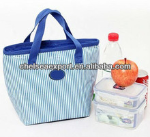 pvc and oxford fabric material hotsaleand portable insulated lunch cooler bag fruit fresh keeping package with stiipe pattern