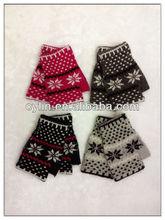 Winter fashion girls mittens, jacquard fingerless gloves knitting pattern