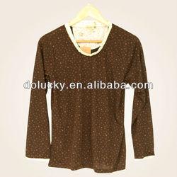 100% cotton knitted dot design blouses for rwomen 2013