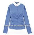 Nuevo estilo de la mujer últimas algodón cupo aduana blusa azul