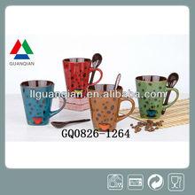 liling high quatity ceramic milk juice mug with spoon