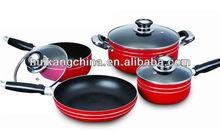 7pcs aluminum non-stick cookware set with glass lid