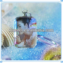 Glass Photo Frame Key Chain for Birthday Gifts