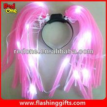 led flashing noodle hair headware led flashing pink noodle head boppers