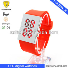 High quality young ladies mirror big face digital watches with LED dispaly