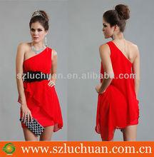 Modern One Shoulder Sleeveless Chiffon Cocktail Dress Short Red