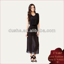 2013 Ladies Fashion Black Chiffon Dress