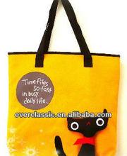 Popular Yellow Canvas Cat Tote Bag