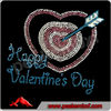Happy Valentine day Arrow in the heart Rhinestone Transfer Design Iron On Hot Fix Heat Transfer Motif Bling Applique
