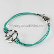 Handmade string bracelet,rope bracelet with peace marks,alloy