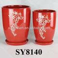el patrón de color rojo florero de cerámica y la olla para la flor