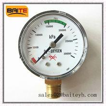 """50mm(2.0"""")plastic case bottom connection medical oxygen pressure gauge"""