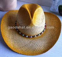 Orange color Cowboy Raffia Straw Hats with beads trim