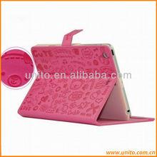 cute stand folio leather case for ipad mini
