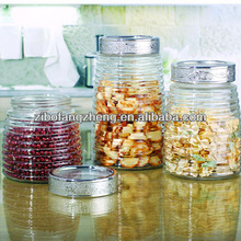 3pcs clear glass storage canister set with lid
