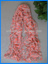 Leopard printing voile polyester shiny scarf