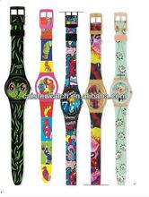 promotional item women plastic wrist watch cheap PVC plastic watches ladies custom full printed PVC plastic watch for promotion