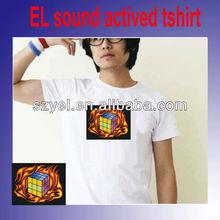 cotton Kids/men/ladies Custom 3d Animation electronic Equalizer el lighting sensitive t-shirt whlesale alibaba online