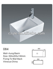 square bathroom ceramic wall hung sink