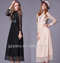 2013 new design fashion long sleeves muslim maxi dress