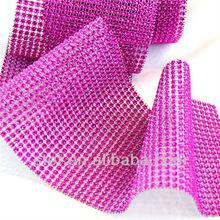 2015 24 Rows Ribbon Crystal Diamond Rhinestone Net Mesh Wrap Decoration