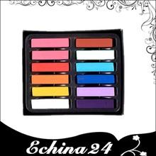 12 Color de pelo tizas Color de pelo en colores Pastel de la corto tiza con el Color del paquete de la caja