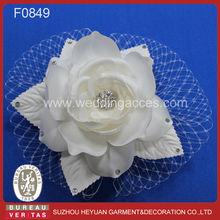 2015 White Hair Fascinator of Rose Flower with Pearl and Rhinestone Birdcage Veil Wedding Bridal Veil
