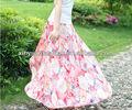 2014 coreano de la moda las mujeres maxi floral de impresión de larga falda de moda