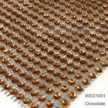 Wedding diamond wesh wrap roll sparkle rhinestone crystal looking ribbon 4.6,11.7cm wide, 10yard/roll,chocolate