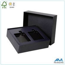 Black matte lamination solid versatility cosmetic rigid paper box with paper insert