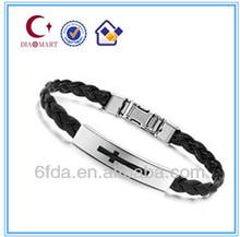 Fashion accessory cross men's leather bracelet wholesale