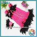 Grossista vestidos smocked meninas moda vestido de renda rosa com penas pretas& headbands& conjunto colar vintage rosa vestido de renda