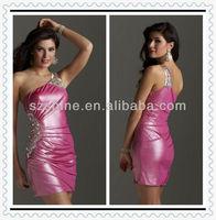 YCD10004 Hot One shoulder Sheath Mini skirt Beaded silk satin light pink one shoulder western cocktail dresses 2013