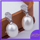 9-10mm AAA white 925 silver pearl drop earrings