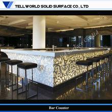 LED Lighted Square shape modern design carved style commercial cocktail bar counter set,bar furniture