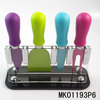 4PCS NON-STICK COATING CHEESE KNIVES SET WITH ACRYLIC STAND