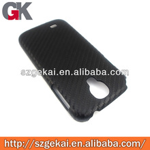 Black Fahionable Luxury Carbon Fiber Chrome side Hard mobile phone cover for Galaxy s4 i9500