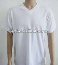 2013 v collar 100% cotton plain white color t shirt china t shirt factory