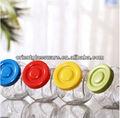 Frasco de vidrio con colores tapas