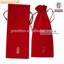 red velvet wine bag