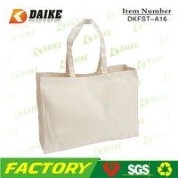 Plain White Organic Canvas Tote Bag DKFST-A16