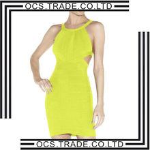 2014 sexy evening bandage dress lime green halter design