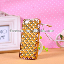 FL160 fashion diamond rhinestone crystal bling Orange plating case for iphone 4 iphone 5