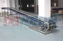 Stainless steel Slat Chain Conveyor with painted steel/powder coated steel frame Good capacity