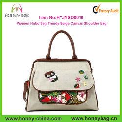 Wholesale Hobo Bag Trendy Beige Women Canvas Shoulder Bags