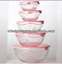 5 piece glass bowl with carved design